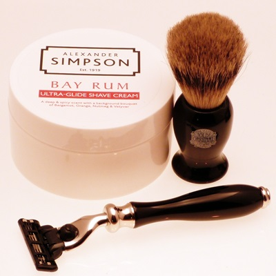 Progress Vulfix Mannin E black razor, brush and luxury shaving cream set