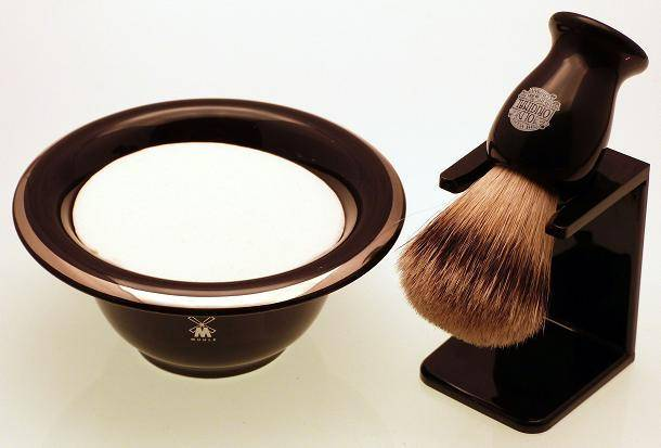 Muhle black porcelain shaving bowl, badger shaving brush and stand