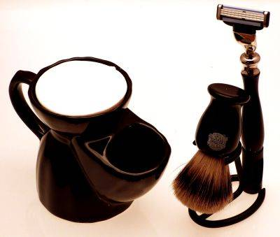 Black Pottery Shaving mug, Mach 3 razor, Super Badger shaving brush and stand