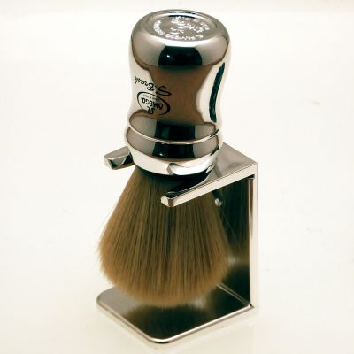 Omega Synthetic shaving brush with chrome plated acrylic dripstand