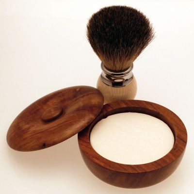 Diamond Edge Badger/bristle shaving brush, cream with small wood shaving bowl