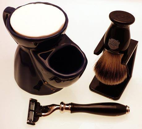 Blue shaving mug and black brush and razor gift set