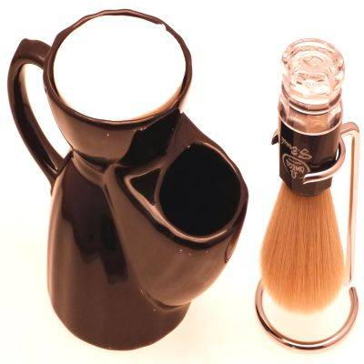 Black Pottery Shaving mug, Omega Synthetic shaving brush and Chrome Dripstand