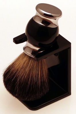 Diamond Edge Dark Badger shaving brush & dripstand, black