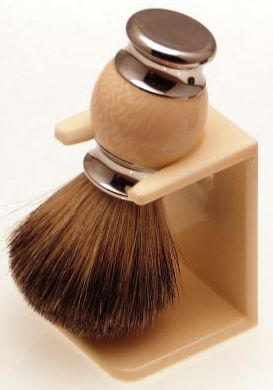Diamond Edge Badger/bristle shaving brush & dripstand, cream
