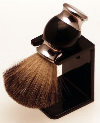 Diamond Edge Badger/bristle shaving brush & dripstand, black