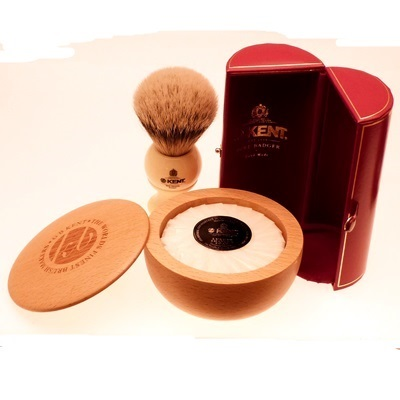 Kent BK8 shaving brush with SB1 light wood shaving bowl