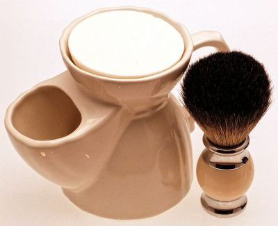 Diamond Edge Dark Badger shaving brush, cream with white pottery shaving mug