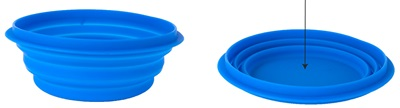 Collapsible silicon travel bowl, large