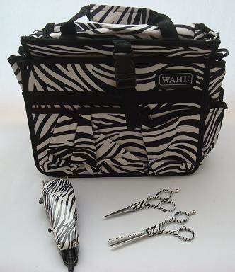 Zebra Print Wahl Pro-Clip clippers, Ama Silhouette scissors and bag