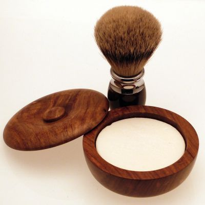 Diamond Edge Premium Silvertip Badger shaving brush with small wood shaving bowl