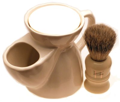 Progress Vulfix 404 shaving brush with white pottery shaving mug