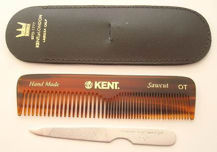 Kent NU19 Comb, nail file & leather case