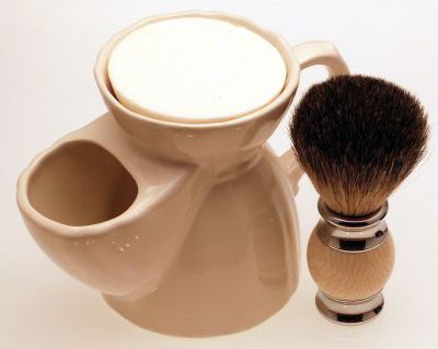 Diamond Edge Badger/bristle shaving brush, cream with white pottery shaving mug
