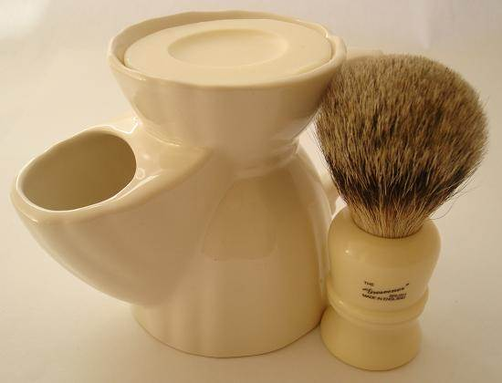 Progress Vulfix Grosvenor 404B shaving brush with pottery shaving mug
