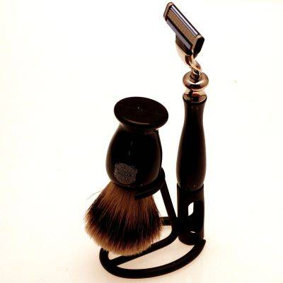 Black Mach 3 razor, Super Badger shaving brush and stand