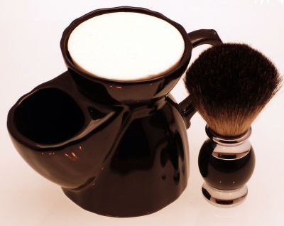 Diamond Edge Dark Badger shaving brush, black with black pottery shaving mug