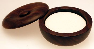 Small Wood Shaving Bowl with soap tablet
