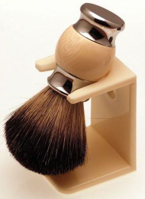 Diamond Edge Dark Badger shaving brush & dripstand, cream
