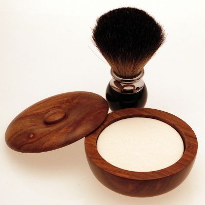 Diamond Edge Dark Badger shaving brush, black with small wood shaving bowl
